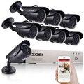 Zosi 8CH 1080 p HDMI DVR 8 unids 720 p HD sistema de cámara de seguridad al aire libre 8 canales cctv dvr Kit AHD conjunto de cámaras