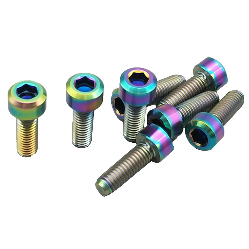 Titanium Bolt for Thumb Shifter M5x16mm Bicycle Handlebar Gold Color Column Head Hexagon Socket Ti Bolts Ti Screws Ti Fasteners 20 pcs ti bolt racing car wheel titanium bolt for car diy for bmw burnt color and blue hexagon ti screws ti fasteners