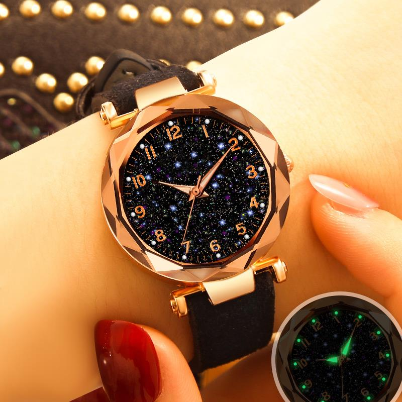 Women Starry Sky Watch Luxury Leather Band With Numbers Quartz Wristwatch Ladies Female Casual Dress Watches Reloj Mujer