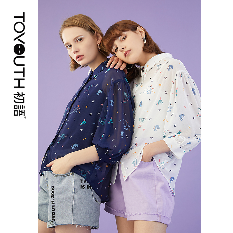 Toyouth Three Quarter Sleeve Chiffon Shirts Women Summer Printed Turn Down Collar Blouses And Shirts Female Loose Top Shirt