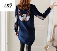 L&Y Velvet Heavy Embroideried Long Sweatshirts Women Pullovers O Neck Plus Size Autumn Winter Loose Casual Sweatshirt Tops