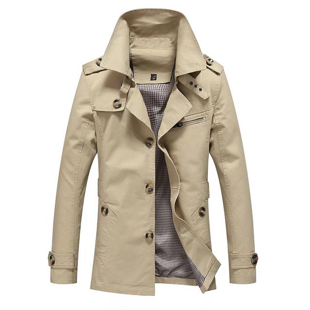 Más el Tamaño M-5XL 2016 Estilo Británico de Moda de Otoño de Los Hombres de Alta Calidad Gabardina Larga Para Hombre Cazadora Chaqueta Larga Ocasional MQ435