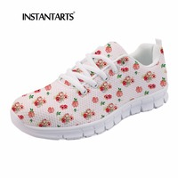 INSTANTARTS 2018 Fall Casual Mesh Women Flats Shoes Outside Youth Girl Walk Footwear Foxy Foxes Doodle Art Print Lacing Sneakers