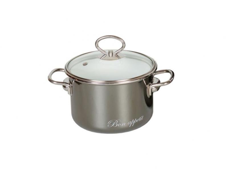 Casserole low VITROSS, Bon Appetit, 2 L, with glass cover, wet asphalt все цены