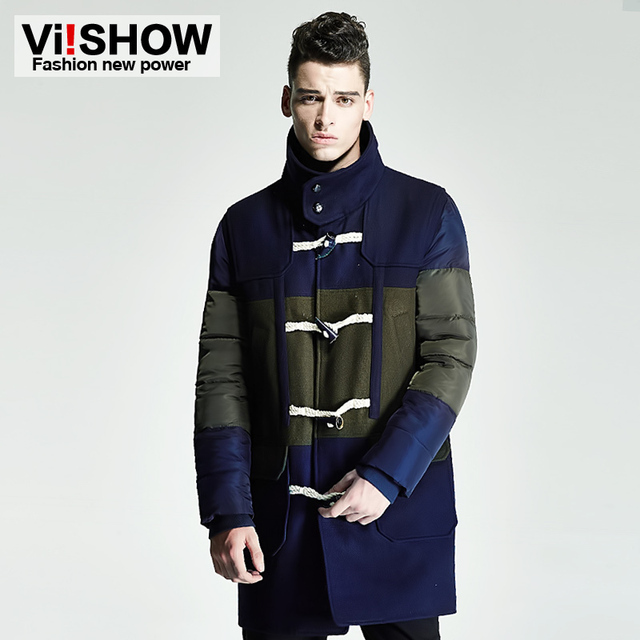 VIISHOW Inverno dos homens Longo Casaco de Lã Dos Homens Trench Coat Turn down Collar Botão Da Buzina Dos Homens Revestimento do Revestimento de Trincheira MC13546