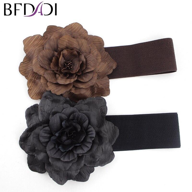 2018 פרחי בד אופנה חגורת עור של נשים אלסטית הרחב, חגורת אבנט לנשים משלוח חינם