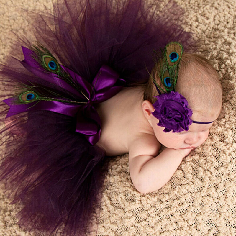 Princess Plum Peacock Feather Tutu Skirt dengan Vintage Headband Newborn Photography Props Baby Tutu Shower Gift TS035