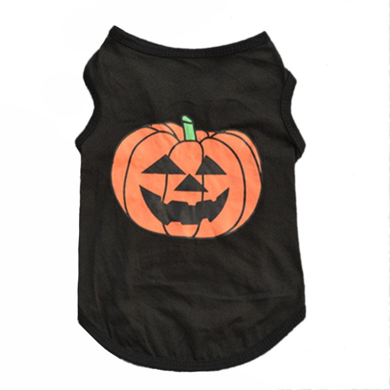 Halloween Pet Costume Dog Vest T Shirt Festivals Pumpkin Puppy Black T-shirt Cotton Pet Clothes for Doggie Cats Ferret2