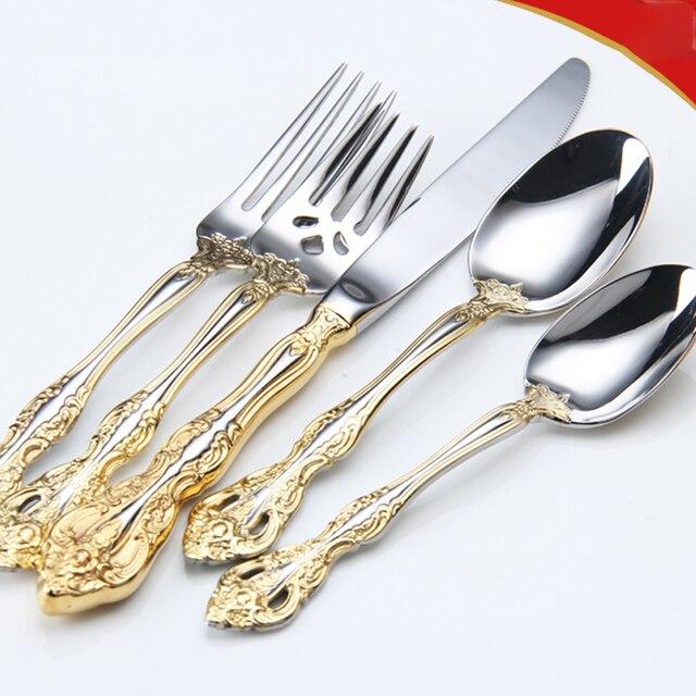 Talheres de aço inoxidável ocidental padrão retro talheres 6 peça conjunto colheres facas garfos conjunto cozinha casa wzn018