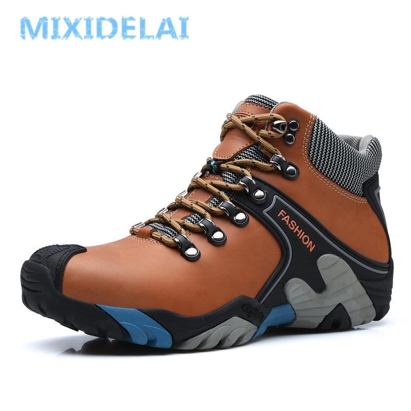 MIXIDELAI Men Boots Size 38-46 Fashion Men Winter Boots Waterproof Men Snow Boots Lace Up Men Ankle Boots Warm Winter Shoes Male