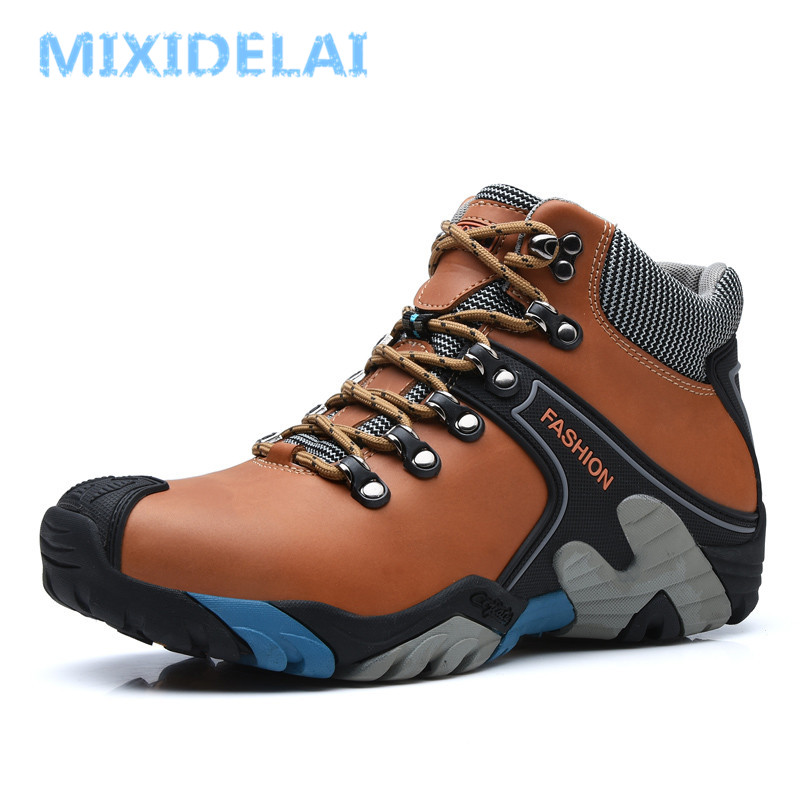 MIXIDELAI Men Boots Size 38-46 Fashion Men Winter Boots Waterproof Men Snow Boots Lace Up Men Ankle Boots Warm Winter Shoes Male