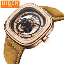 Biden marque carré en cuir véritable quartz hommes montres-bracelets turbine homme montres décontracté étanche homme horloges mouvement citoyen