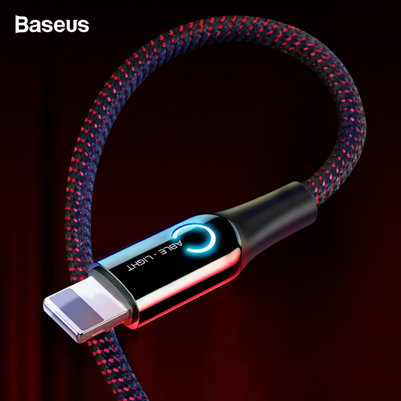 Baseus LED Lighting USB Cable For iPhone XS Max XR X 8 7 6 S Plus SE Auto Disconnect 2.4A Fast Charging Charger Cable Data Cord-in Mobile Phone Cables from Cellphones & Telecommunications on AliExpress