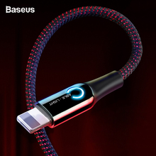 Baseus LED Lighting USB Cable For iPhone XS Max XR X 8 7 6 S Plus SE Auto Disconnect 2.4A Fast Charging Charger Data Cord