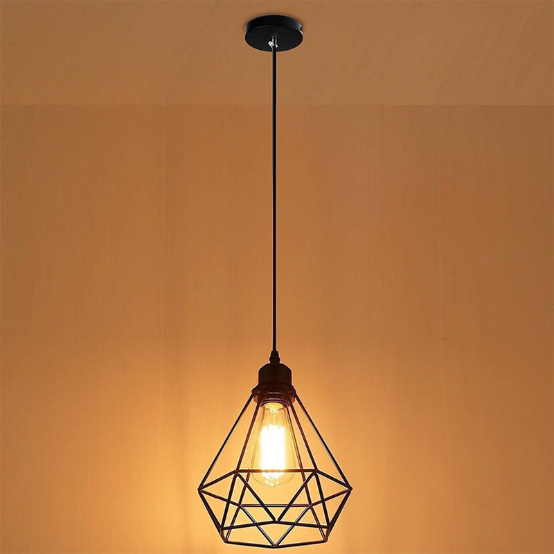 Geometric Pendant Metal Lamp Guard Retro Vintage Pendant  Light Shade Iron Cage CLH@8