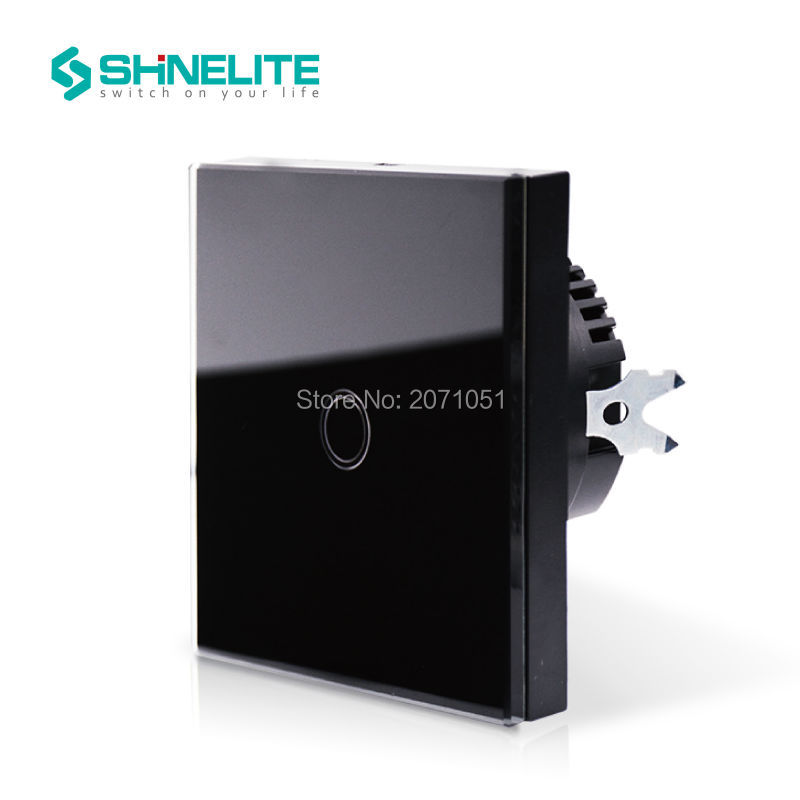 EU Shinelite Touch Switch 1 Gang 1 Way,Black,Wall Light Touch Screen Switch,Crystal Glass Switch Panel smart home us au wall touch switch white crystal glass panel 1 gang 1 way power light wall touch switch used for led waterproof