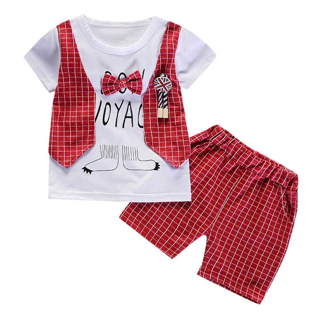 Cute Baby Boys Summer Clothes Set 2 Piece Set Gentleman Bow O-Neck Short Sleeve T-shirt Tops Shorts Pants Outfits Clothes Set