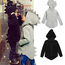 Kids Girls Boys Cartoon Cotton Coats Solid Hooded Long Sleeve Outerwear Jackets Autumn Spring Green Black Gray Children Clothes