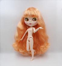 Blygirl,Blyth doll,Light orange fringe curly hair, 1/6 nude doll, 19 joints, new face shell doll, can make up for her blygirl blyth doll black curly doll no 114bl58 joint body 19 joints white body
