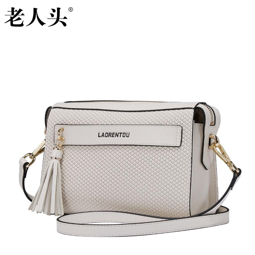 ФОТО LAORENTOU brand New women genuine leather bag famous brands fashion tassel Casual women real leather shoulder messenger bag