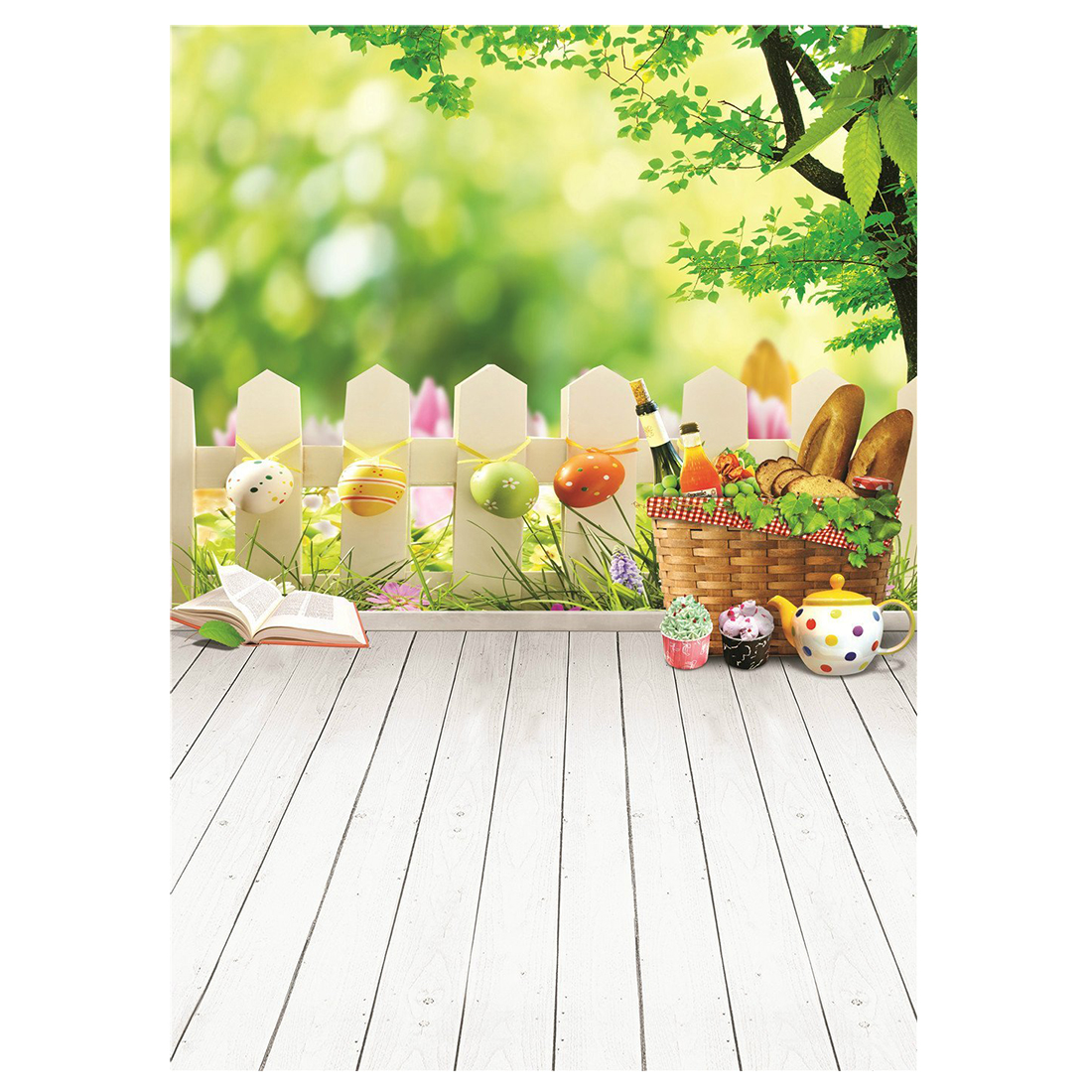 3x5ft (90x150cm) Easter Photo Studio Background Basket Colorful Eggs Photography Backdrop Wood Floor Photographic Backdrops easter day basket branch bunny photo studio background easter photography backdrops page 3