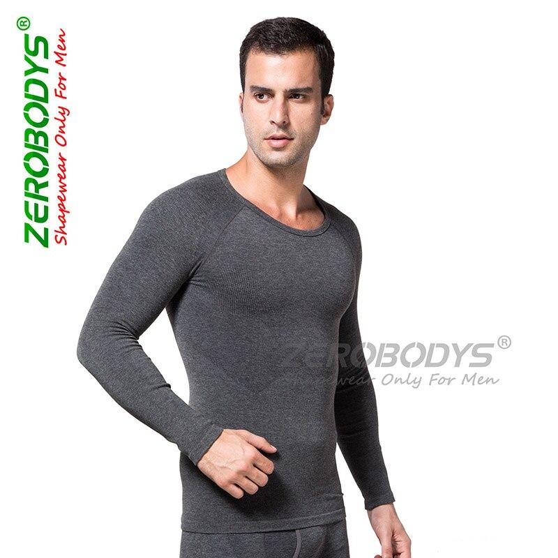 Zerobodys New Men Slimming Fever Fiber Long Sleeve Underwear Body Shaper Seamless Fitness Tight Chest Abdomen
