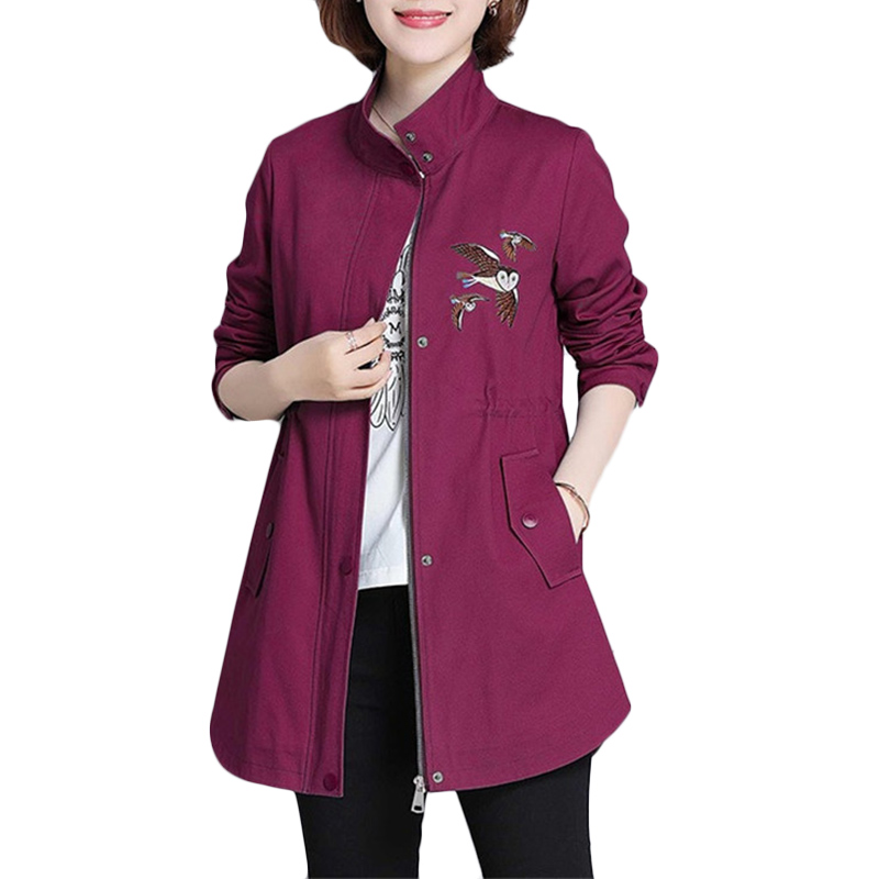 Women Embroidery Windbreaker coat 2019 Autumn Winter New Loose Long Casual   Trench   Coats Women's Wild Plus size Overcome 3XL F474