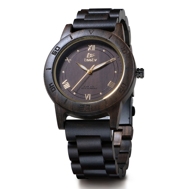 LeeEv EV2075 Mens Handmade Natural Black Sandal Wood Watch Quartz Light Weight Vintage Wooden Wrist Watch