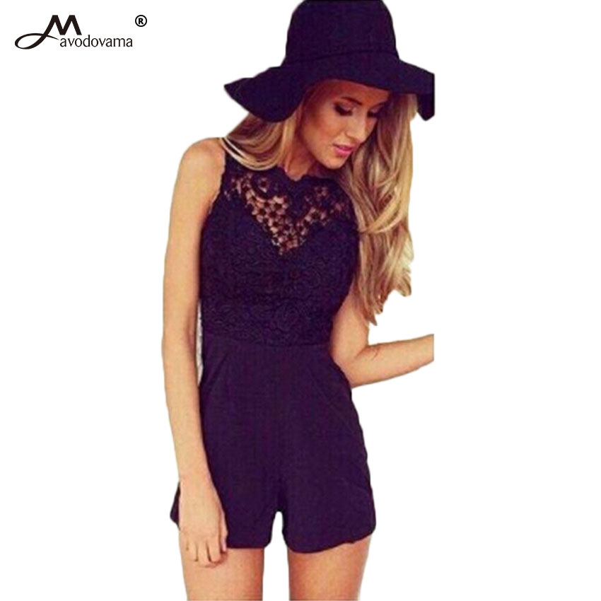 Avodovama M Women Summer 2017 Sexy Jumpsuit Sleeveless Flower Lace Playsuits Solid Colors Halter Black ...