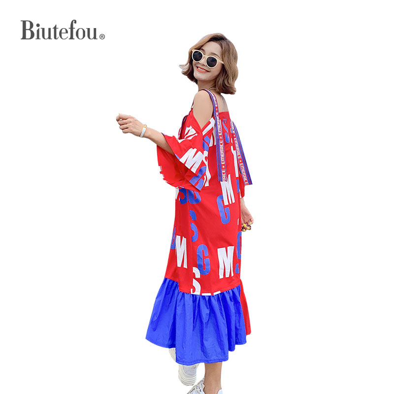 2020 Summer Slash Neck Long Dresses Fashion Back Hollow Out Ribbon Patchwork Women Dresses