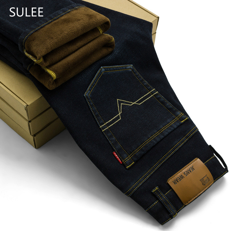 SULEE Activities Autumn Winter flocking warm soft men jeans