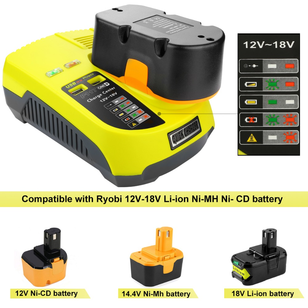 For RYOBI Battery Charger 12 14.4v 18V Ni-CD Ni-MH Li-ion P110, P111, P107 P108 for Ryobi one+ Battery P117 high quality bcl1415 14 4v ni cd ni mh battery for hitachi bcl1415 18v ni cd ni mh battery