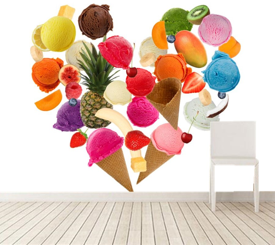 Ice Cream Wide Wallpapers Free: Custom Ice Cream Heart Food Wallpaper,coffee Shop