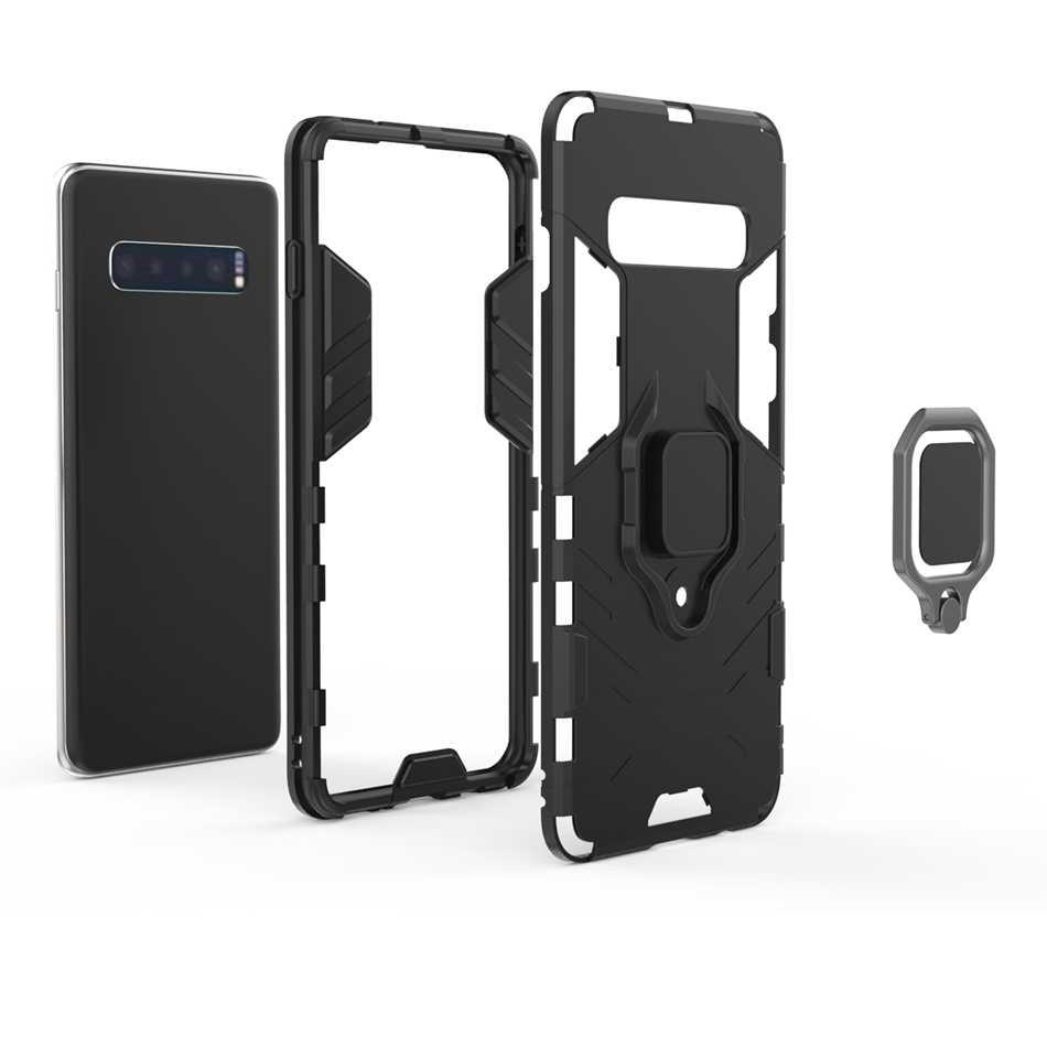 Чехол для samsung S10 Plus S10E, гибридный чехол с подставкой для Galaxy Note 9 8 S9 S8 Plus, магнитный металлический кольцевой ударопрочный чехол