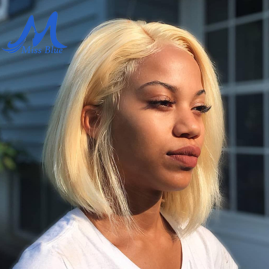 Missblue Wigs Hairline Blonde Human-Hair Short Bob Lace-Front Pre-Plucked Straight Black Women