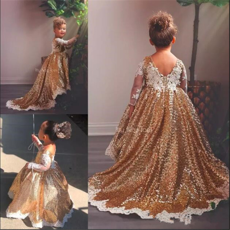 Gold Sequined High Low Flower Girl Dresses For Wedding Lace Long Sleeves Toddler Pageant Gowns Appliqued Ball Gown Custom Made