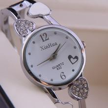 Strass Design Diamante Amor Vestido de Mulheres Meninas Bracelet Bangle De Metal feminino Senhoras Relógios Vestido Relógios relogio feminino Siver