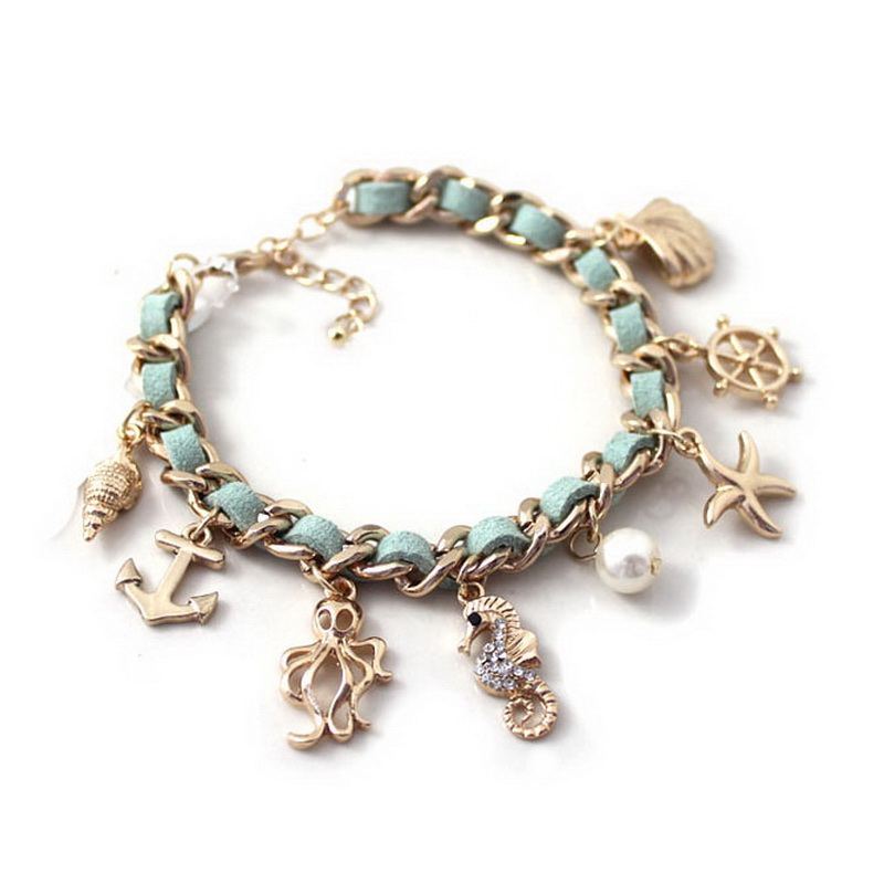 Ocean Series Bracelet Rudder Starfish Conch Shell Pearl Seahorse Octopus Charms Bohemia Style Bracelets Wholesale 10pcs/lot