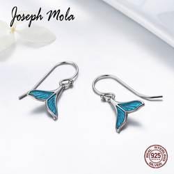 Джозеф мола 925 пробы серебро элегантный синий хвост русалки CZ каменная капля серьги для Для женщин вечерние знакомства подарок Fine Jewelry