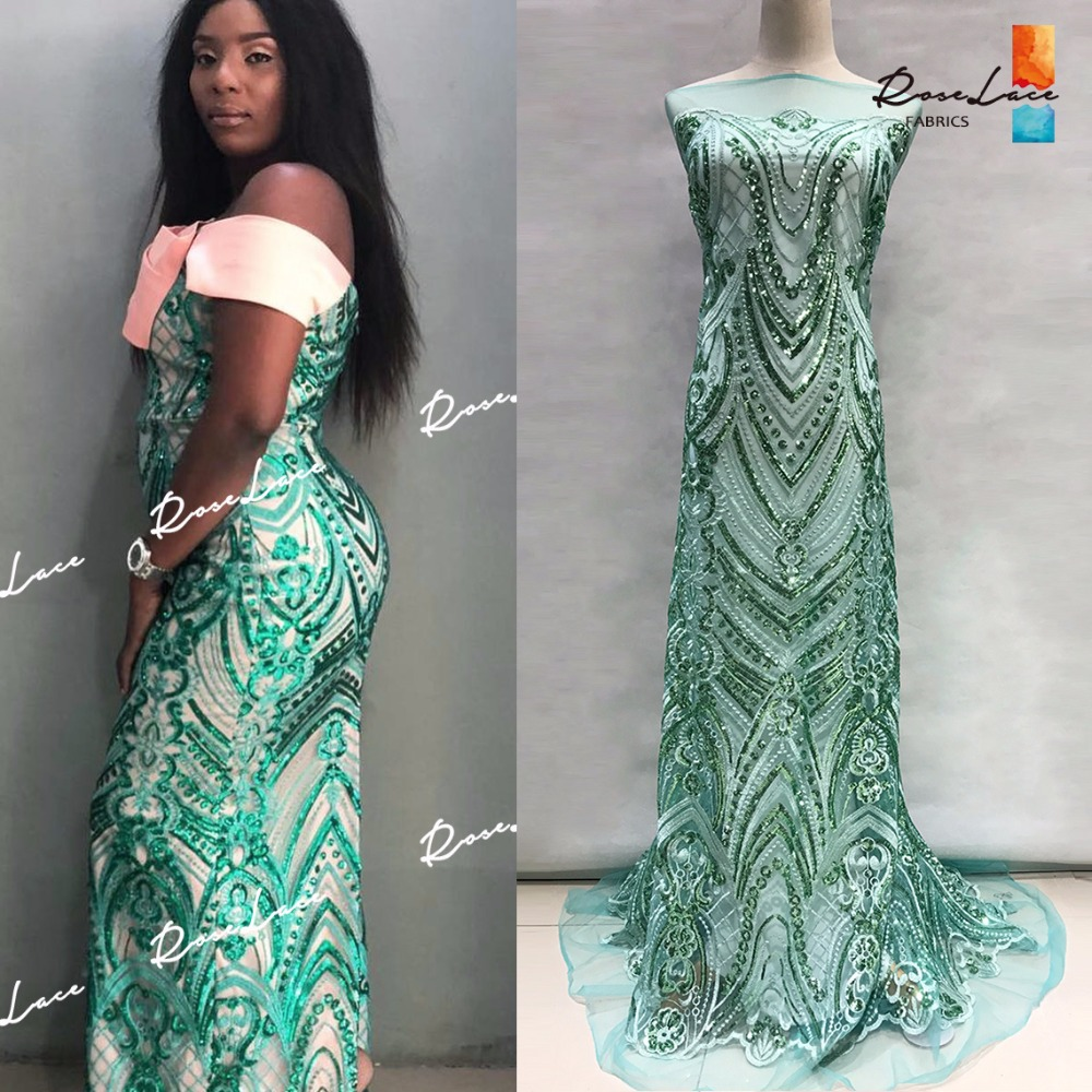 Green Sequins Net Lace Fabric Unique Design Sequined Embroidered Guipure Mesh Lace For Indian Women Prom