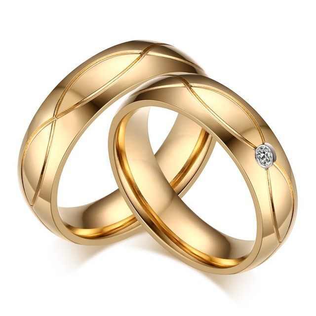 af43a6071a Soul Men 2pcs His and Her Promise Titanium Steel Wedding Band Rings Set Gold  Color CZ