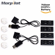 Morpilot 4Pcs 520mAh Lipo Battery for Hubsan X4 Cam Plus H107C+ H107C Plus FPV Drone With 2 Pack Exterior Charger Spare Components