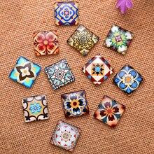 10 мм/15 мм/20 мм/25 мм модные цветы квадратное стекло прозрачное время драгоценный камень крышка Камея Кабошон DIY ручной работы делая результаты
