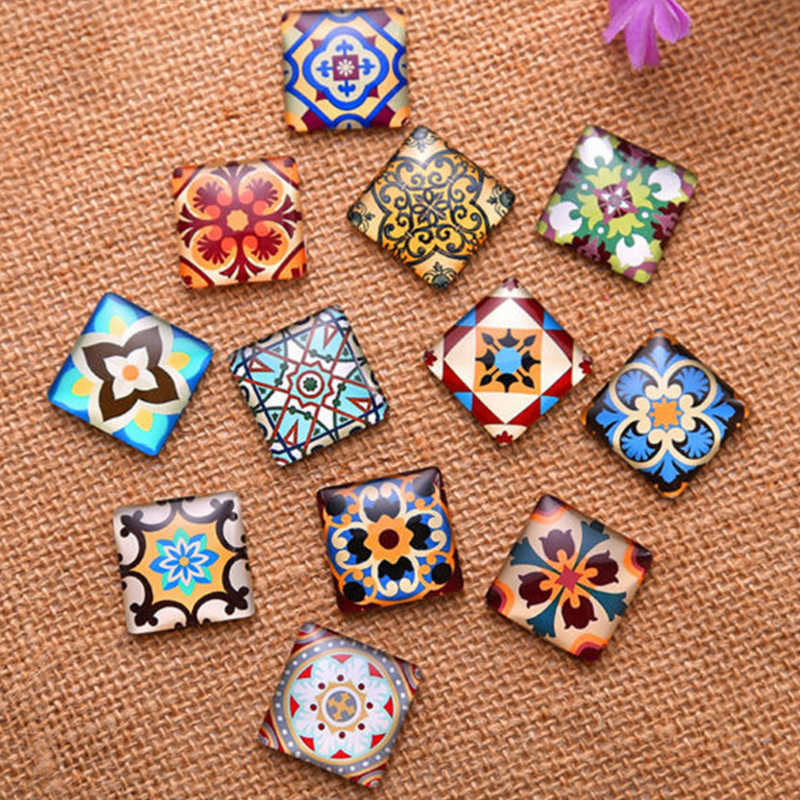 10mm/15mm/20mm/25mm Fashion Flowers Square  Glass Transparent Time Gem Cover Cameo Cabochon DIY  handmade Making Findings