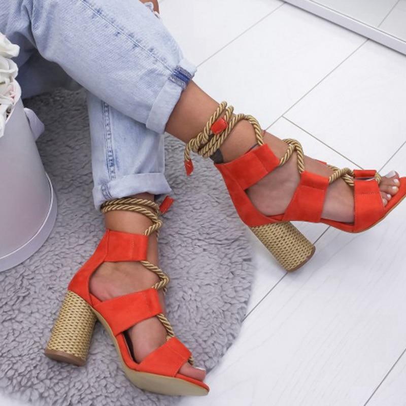 HTB1vvymX8WD3KVjSZFsq6AqkpXan Laamei 2019 New  Espadrilles Women Sandals Heel Pointed Fish Mouth Fashion Sandals Hemp Rope Lace Up Platform Sandal