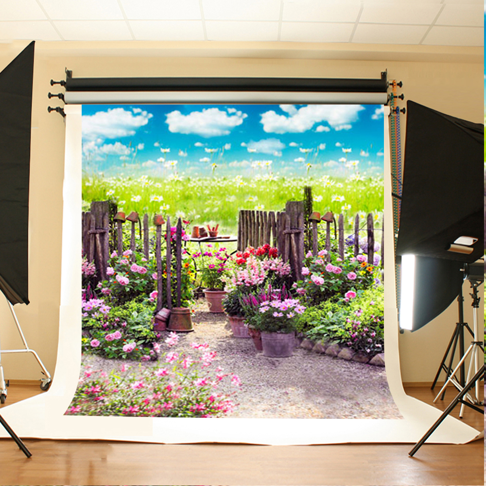Wedding Photography Background Blue Sky and White Clouds Backdrops Garden Grassland Wedding Background for Photographic Studio 10 6 5feet 300 200cm photography backdrops vast blue sky and white clouds sofa free shipping