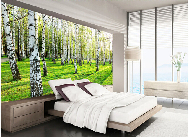 Custom naturaleza del papel pintado el bosque paisaje para sala de estar dormitorio tv pared de for Papel pintado paisajes