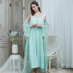 Image 2 - Lace Robe & Gown Set Women Long Nightgowns Vintage Sleepwear Elegant Loose Robe Set European Classical Robes Pretty Ladies Gift
