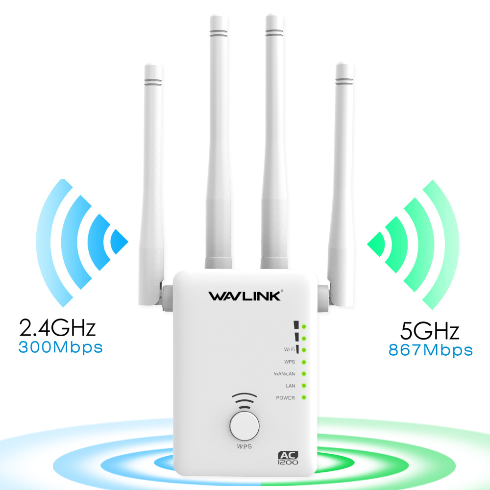 Wavlink AC1200 Wireless WIFI AP/Router/Repeater extender signal amplifier  wifi range extender with 4 External Antennas -White