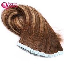#4/4 цвета лента в человеческих волос бразильский прямые волосы 50 г 20 шт./компл. уток кожи Реми волос Мечтая Королева волос